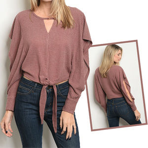 Sweaters - Long slit sleeve ruffled knit sweater top